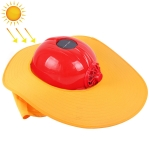 Solar Charging Safety Helmet with Fan & Sunshade Outdoor Hard Hat (Red+Yellow)