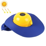 Solar Charging Safety Helmet with Fan & Sunshade Outdoor Hard Hat (Yellow+Blue)