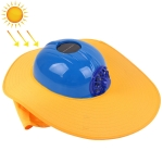 Solar Charging Safety Helmet with Fan & Sunshade Outdoor Hard Hat (Blue+Yellow)