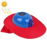 Solar Charging Safety Helmet with Fan & Sunshade Outdoor Hard Hat (Blue+Red)