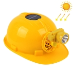 Solar Charging Safety Helmet with Fan & LED Light Outdoor Hard Hat(Yellow)
