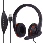 OVLENG Q5 Stereo Headset with Mic & Volume Control Key for Computer, Cable Length: 2m (Orange)