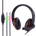 OVLENG X10 Stereo Headset with Mic & 3.5mm Plug & Volume Control Key for Computer, Cable Length: 1.8-2m (Orange)