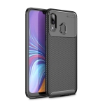 Beetle Series Carbon Fiber Texture Shockproof TPU Case for Galaxy A30 (Black)