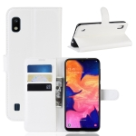 Litchi Texture Horizontal Flip Leather Case for Galaxy A10, with Wallet & Holder & Card Slots (White)
