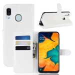 Litchi Texture Horizontal Flip Leather Case for Galaxy A30, with Wallet & Holder & Card Slots (White)