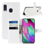 Litchi Texture Horizontal Flip Leather Case for Galaxy A40, with Wallet & Holder & Card Slots (White)