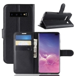 Litchi Texture Horizontal Flip Leather Case For Galaxy S10+ ,With Holder & Wallet & Card Slots (Black)