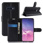 Litchi Texture Horizontal Flip Leather Case For Galaxy S10e ,With Holder & Wallet & Card Slots (Black)