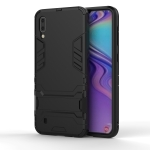 Shockproof PC + TPU Case for Galaxy M10, with Holder(Black)