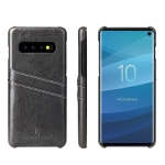 Fierre Shann Retro Oil Wax Texture PU Leather Case for Galaxy S10, with Card Slots (Black)