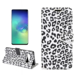 Leopard Texture PU + TPU Horizontal Flip Leather Case for Galaxy S10 Plus, with Holder & Card Slots & Wallet (White)
