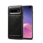 Dibase TPU + PC + PU Crazy Horse Texture Protective Case for Galaxy S10 Plus, with Holder & Card Slots (Black)