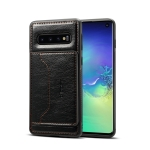 Dibase TPU + PC + PU Crazy Horse Texture Protective Case for Galaxy S10 E, with Holder & Card Slots (Black)