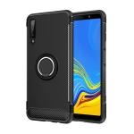 Carbon Fiber Texture TPU + PC Protective Case for Galaxy A7 (2018), with 360 Degree Rotation Holder (Black)