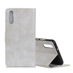 Retro Crazy Horse Texture Horizontal Flip Leather Case for Galaxy A50, with Holder & Card Slots & Photo Frame (White)