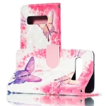3D Pink Butterflies Horizontal Flip PU Leather Case for Galaxy S10, with Holder & Card Slots & Wallet & Photo Frame
