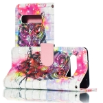 3D Owl Pattern Horizontal Flip PU Leather Case for Galaxy S10, with Holder & Card Slots & Wallet & Photo Frame