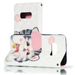 3D Jingle Cat Pattern Horizontal Flip PU Leather Case for Galaxy S10e, with Holder & Card Slots & Wallet & Photo Frame