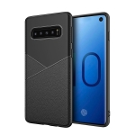 Ultra-thin Shockproof Soft TPU + Leather Case for Galaxy S10+ (Black)
