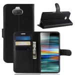 Litchi Texture Horizontal Flip Leather Case For Sony Xperia 10 ,With Holder & Wallet & Card Slots (Black)
