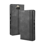 Magnetic Buckle Retro Texture Horizontal Flip Leather Case for Sony Xperia 10, with Holder & Card Slots & Wallet (Black)