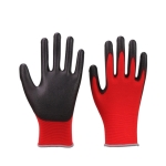 2 Pairs Red Yarn Black Latex-nylon Nitrile Anti-static Work Safety Gloves Mechanic Working Gloves(Red)