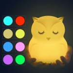 Cute owl cartoon colorful LED Lamp creative silicone night light childrens toy lamp bedroom decoration USB charging light