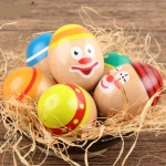 Clown Egg Game Wooden Cartoon Dummy Eggs Children Hand-eye Coordination Balance Training Patient Educational Wood Toys
