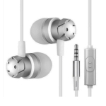 3.5mm Wired Headphones Handsfree Headset In Ear Earphone Earbuds with Mic for Xiomi Iphone MP3 Player Laptop(Silver)