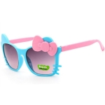 2 PCS Cute Baby Sunglasses Children Bow Eyewear Anti-UV Sunglasses(Blue+Pink)