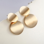 Unique Metal Drop Earrings Round Statement Earrings for Women Jewelry(Gold)