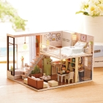 DIY Wooden House with Furniture Miniature Dollhouse Toys for Children Christmas and Birthday Gift