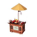 BBQ Cart Barbecue Trolley Lighting House Wooden Model Kits DIY Model Christmas Gift(A)