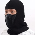 Winter Cycling Fleece Warm Full Face Cover Anti-dust Windproof Ski Mask Thermal Balaclavas Scarf(Black)