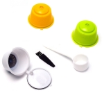 3 PCS Eco-friendly Reusable Coffee Capsule Set Food Grade Plastic PP Coffee Filter Baskets Soft Capsules(white+green+yellow)