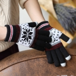 Warm Winter Screen Sense Gloves Wool Knitted Wrist Gloves Snowflake Full Finger Unisex Gloves Mitten(Black)