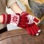 Warm Winter Screen Sense Gloves Wool Knitted Wrist Gloves Snowflake Full Finger Unisex Gloves Mitten(Red)