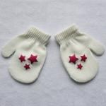 Dot Star Heart Pattern Mittens Children Gloves Soft Knitting Warm Mittens(White Heart)
