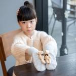 Lovely Children Winter Warm Cartoon Bear Wool Knit Mittens Thicken Velvet Kids Gift Soft Gloves(Light Gray)