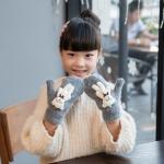 Lovely Children Winter Warm Cartoon Bear Wool Knit Mittens Thicken Velvet Kids Gift Soft Gloves(Dark Gray)