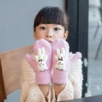 Lovely Children Winter Warm Cartoon Bear Wool Knit Mittens Thicken Velvet Kids Gift Soft Gloves(Pink)