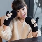 Lovely Children Winter Warm Cartoon Bear Wool Knit Mittens Thicken Velvet Kids Gift Soft Gloves(Black)