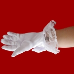 Stylish White Lace Girls  Performance Gloves Sweet Party Kids Gloves Costume Accessories, Size:S ( for Age 4-8)