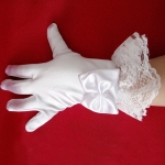 Stylish White Lace Girls  Performance Gloves Sweet Party Kids Gloves Costume Accessories, Size:M ( for Age 8-12)