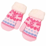 Children Warm Gloves Winter Plus Velvet Thick Knit Wool Outdoor Children Mittens(Dear Pattern Pink)