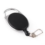 2 PCS Retractable Pull Badge Reel Zinc Alloy ABS ID Lanyard Name Tag Card Badge Key Ring Chain Clips