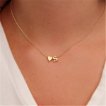 Fashion Tiny Dainty Heart Initial Necklace Personalized Letter Necklace Name Jewelry for women accessories girlfriend gift, Metal Color::C(Gold)