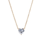 Crystal Heart Pendant Necklace Female Short Chain Necklace(Gold)