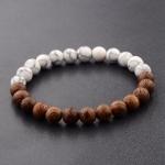 8mm Natural Wood Beads Bracelets Black Ethinc Meditation White Bracelet(White)